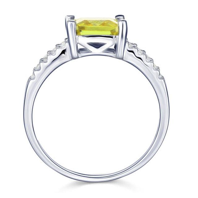 Inel Borealy Argint 925 Created Diamond Princess Yellow Canary Marimea 7-big
