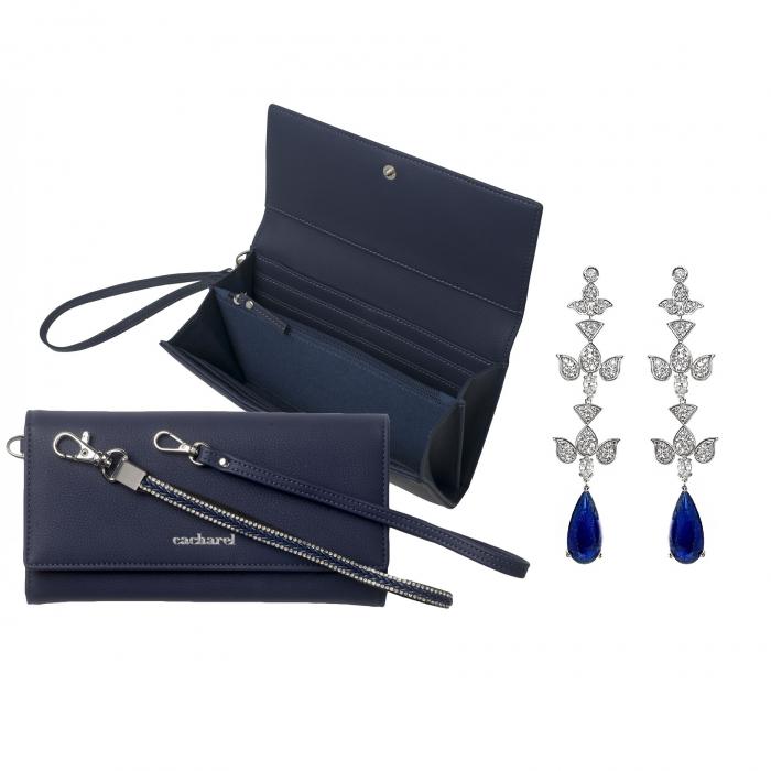 Geantă Poseta Cacharel Iris Bleumarine & Cercei Chandelier Blue Orient-big