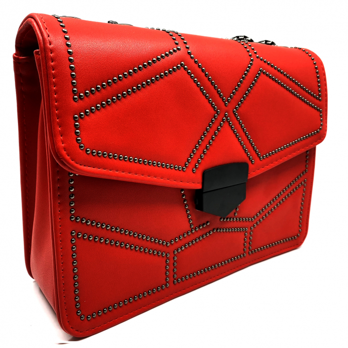 Geanta Red Studded 2