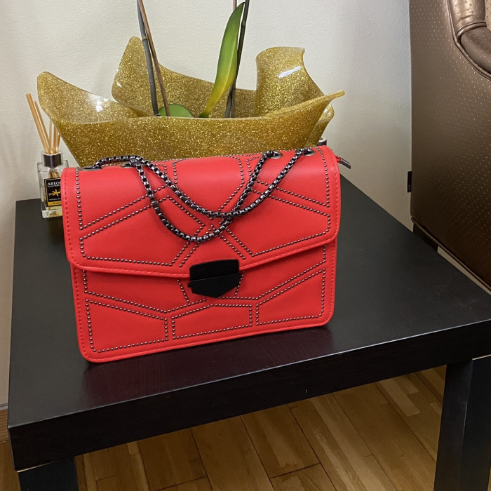 Geanta Red Studded 4