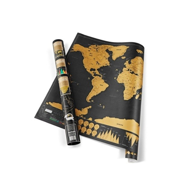 "Glob Pământesc Levitaţie Auriu + CADOU Harta razuibila mare Borealy ""Am fost acolo"" 82 cm x 59 cm Gold Edition Deluxe 2"
