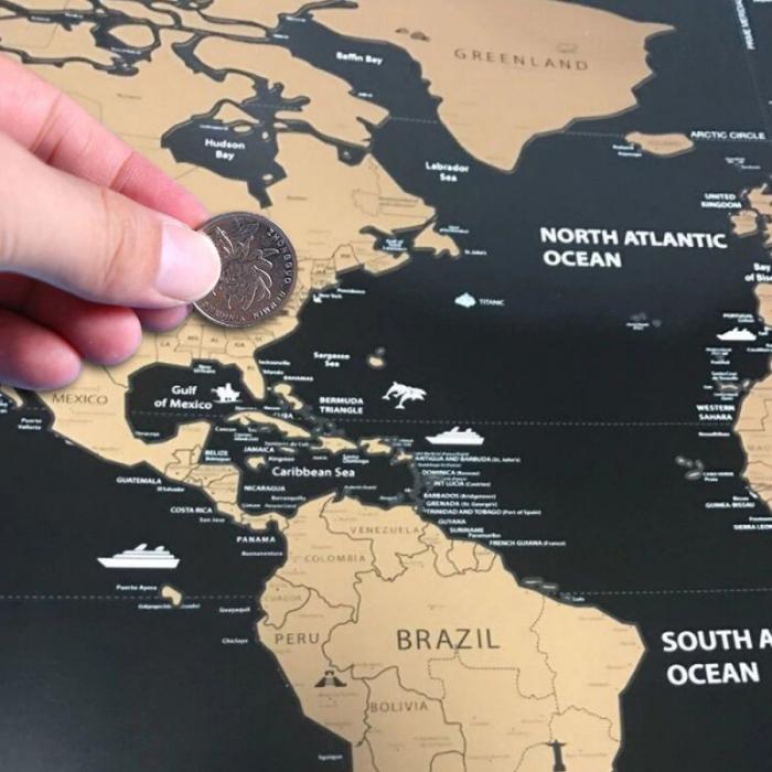 "Glob Pământesc Levitaţie Auriu + CADOU Harta razuibila mare Borealy ""Am fost acolo"" 82 cm x 59 cm Gold Edition Deluxe 4"
