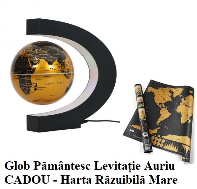 "Glob Pământesc Levitaţie Auriu + CADOU Harta razuibila mare Borealy ""Am fost acolo"" 82 cm x 59 cm Gold Edition Deluxe [0]"