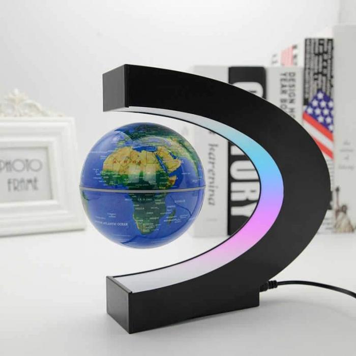 Glob Pământesc Levitaţie Magnetic cu leduri + Cadou Agenda Jurnal de Calatorii Piele Ecologica Maro [2]