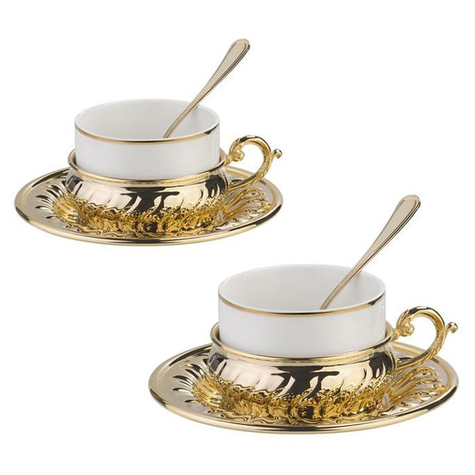 American Gold Coffee Set for Two by Chinelli 1