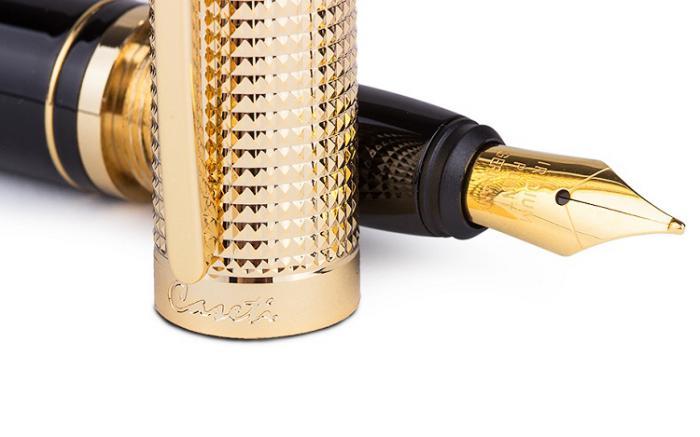 Gold grid black resin Pen by Caseti-big