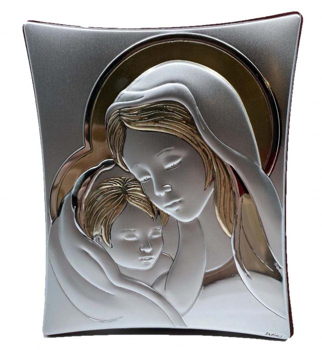 Icoană Maica Domnului si Pruncul, Placata cu Argint si Aur 1