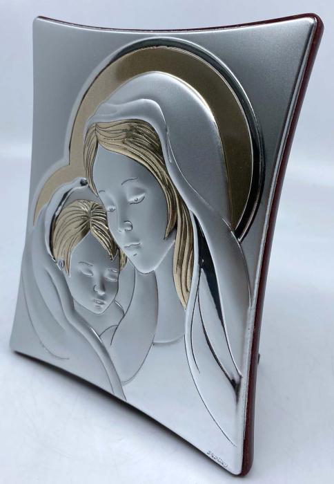Icoană Maica Domnului si Pruncul, Placata cu Argint si Aur 2