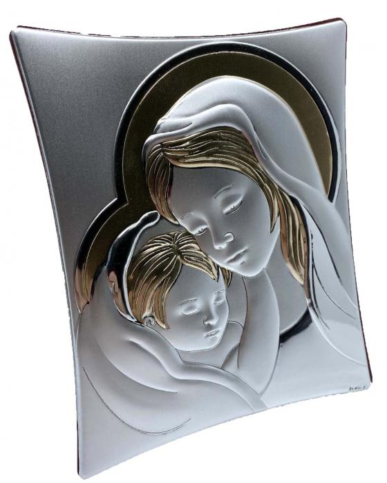 Icoană Maica Domnului si Pruncul, Placata cu Argint si Aur 0