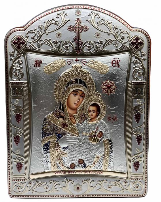 Icoana Fecioara Maria cu Pruncul placata cu aur si argint - 23 x 30 cm [0]