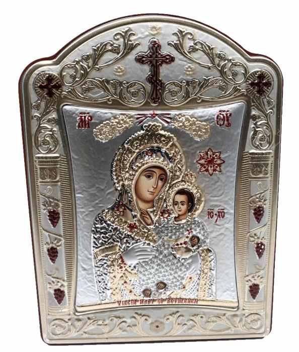 Icoana Fecioara Maria cu Pruncul placata cu aur si argint -12 x 15 cm 0