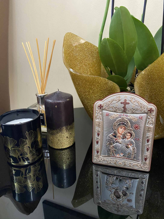 Icoana Fecioara Maria cu Pruncul placata cu aur si argint -12 x 15 cm 2