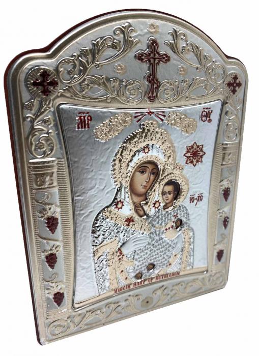 Icoana Fecioara Maria cu Pruncul placata cu aur si argint -12 x 15 cm 1