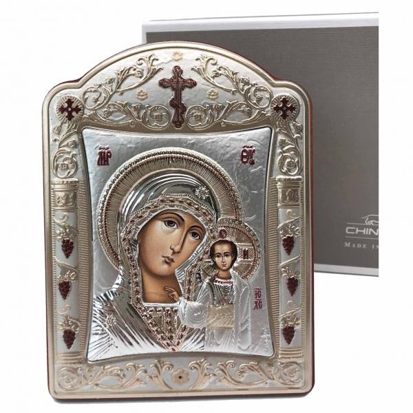 Icoana Fecioara Maria cu Pruncul placata cu aur si argint by Chinelli - Made in Italy 16 x 20 cm [4]