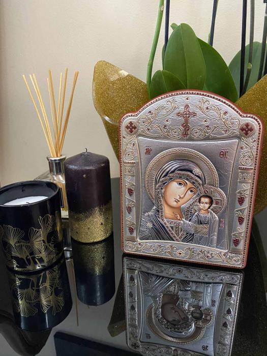 Icoana Fecioara Maria cu Pruncul placata cu aur si argint by Chinelli - Made in Italy 16 x 20 cm [2]