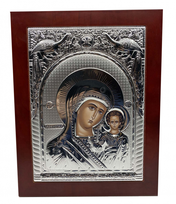 Icoana Mare Fecioara Maria cu Pruncul placata cu argint - Made in Grecia - 31 cm 0