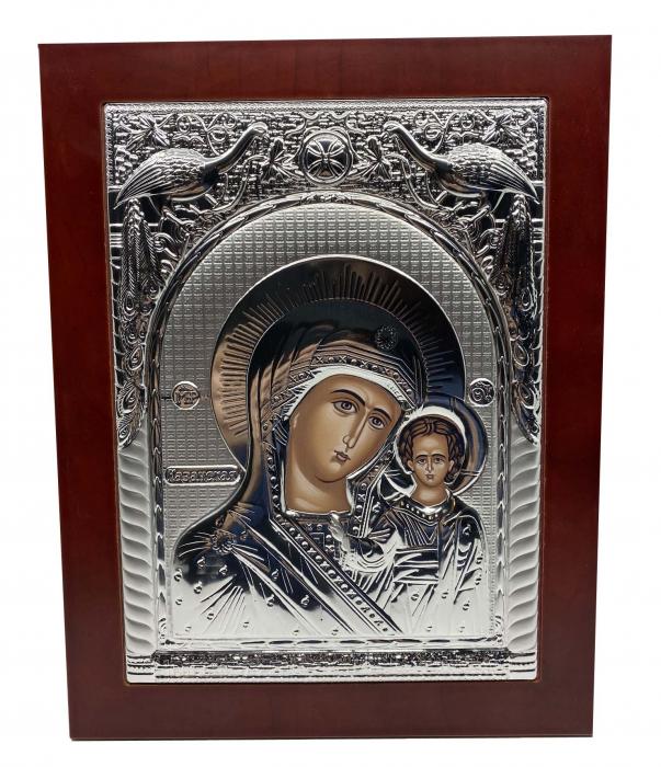 Icoana Mare Fecioara Maria cu Pruncul placata cu argint - Made in Grecia 40 x 30 cm 0