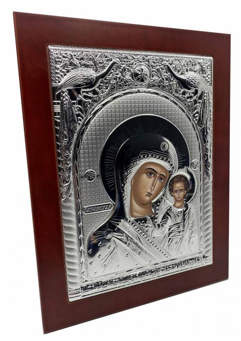 Icoana Mare Fecioara Maria cu Pruncul placata cu argint - Made in Grecia 40 x 30 cm 2