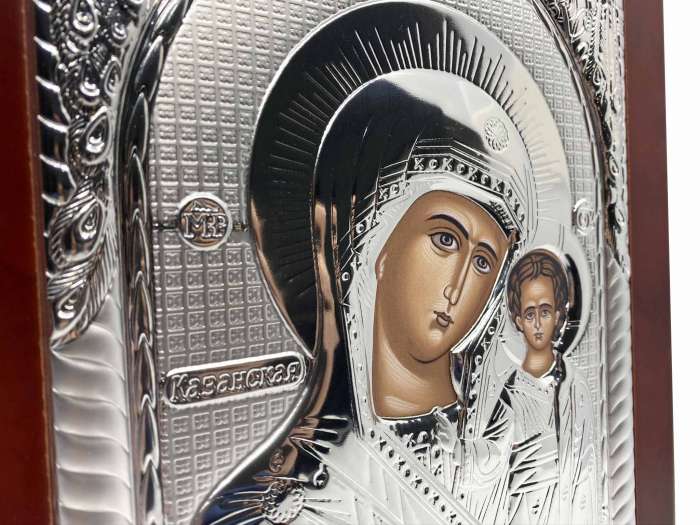 Icoana Mare Fecioara Maria cu Pruncul placata cu argint - Made in Grecia 40 x 30 cm 4