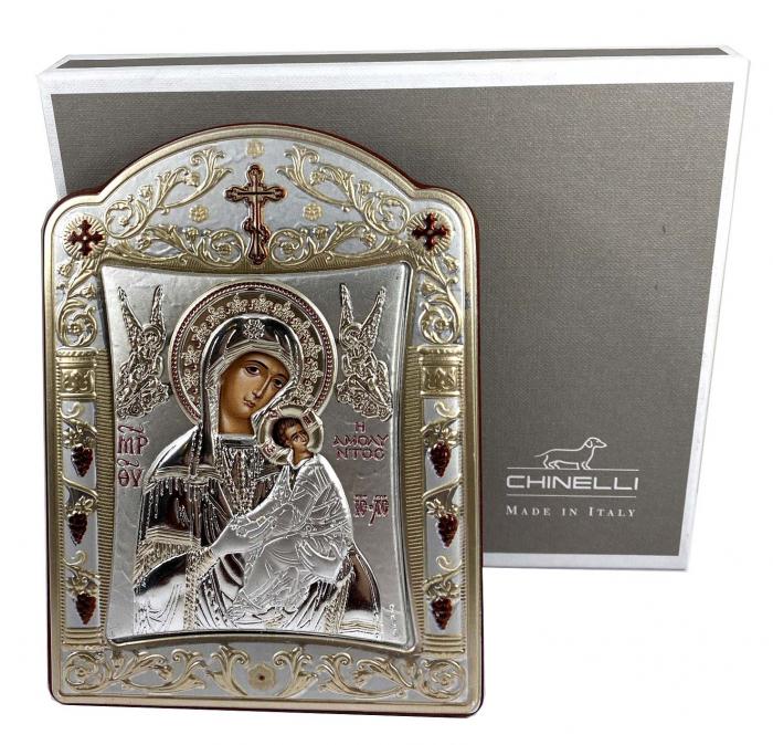Icoana Fecioara Maria cu Pruncul placata cu aur si argint [0]