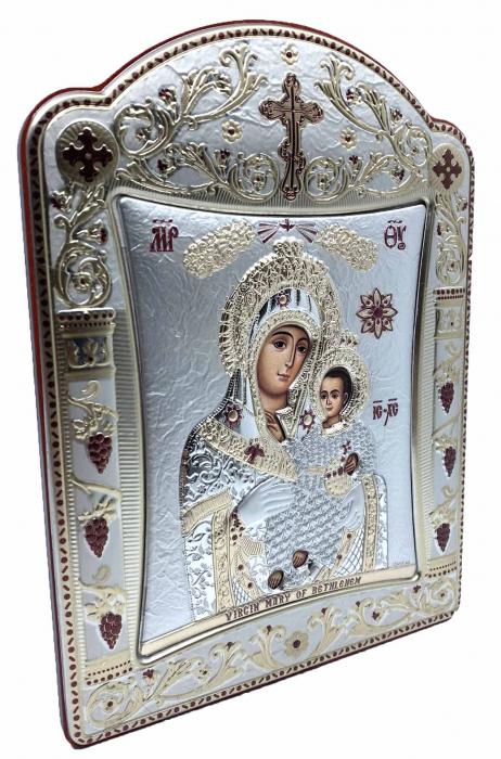 Icoana Fecioara Maria cu Pruncul placata cu aur si argint - 16 x 20 cm 1