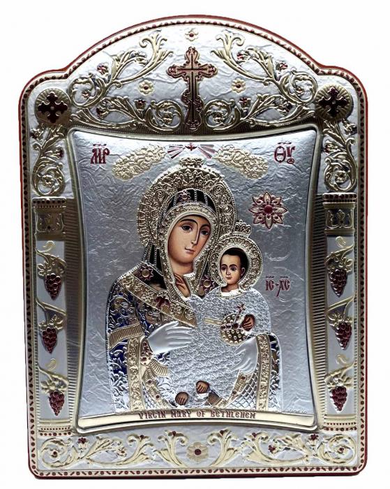 Icoana Fecioara Maria cu Pruncul placata cu aur si argint - 16 x 20 cm 0