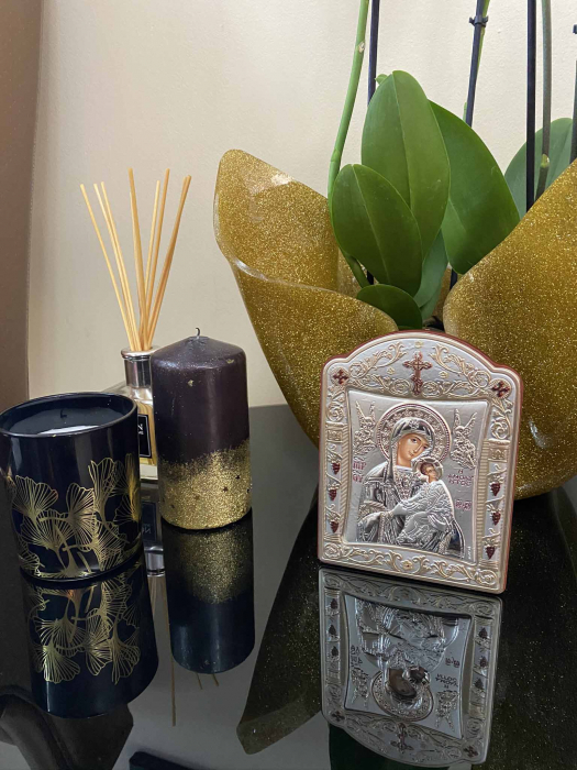 Icoana Fecioara Maria cu Pruncul  si Ingeri placata cu aur si argint - 12 x 15 cm 2