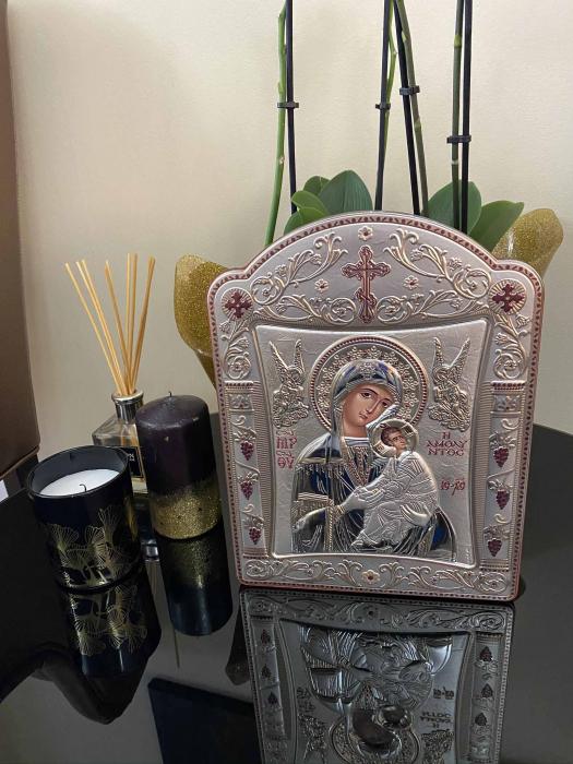 Icoana Fecioara Maria cu Pruncul  si Ingeri placata cu aur si argint - 21 x 26 cm 2