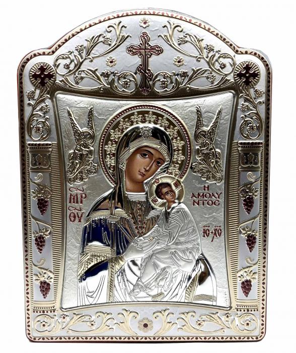 Icoana Fecioara Maria cu Pruncul  si Ingeri placata cu aur si argint - 21 x 26 cm 0
