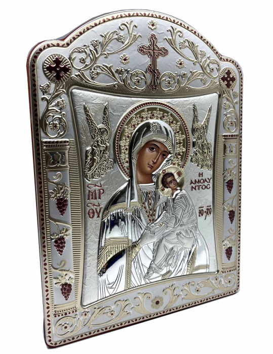 Icoana Fecioara Maria cu Pruncul  si Ingeri placata cu aur si argint - 21 x 26 cm 1