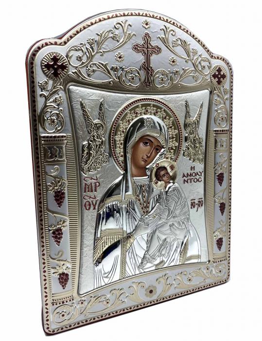 Icoana Fecioara Maria cu Pruncul  si Ingeri placata cu aur si argint -16 x 20 cm 2