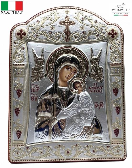 Icoana Fecioara Maria cu Pruncul  si Ingeri placata cu aur si argint -16 x 20 cm 0