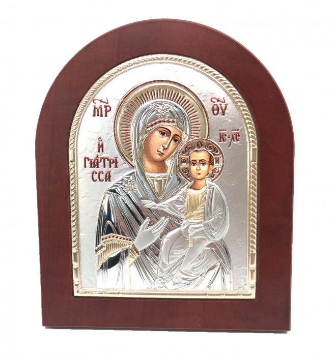 Icoana Maica Domnului si Pruncul placata cu aur si argint 0