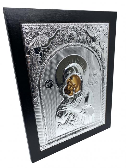 Icoana Maica Domnului si Pruncul Iisus placata cu Argint  - 40 x 30 cm [1]