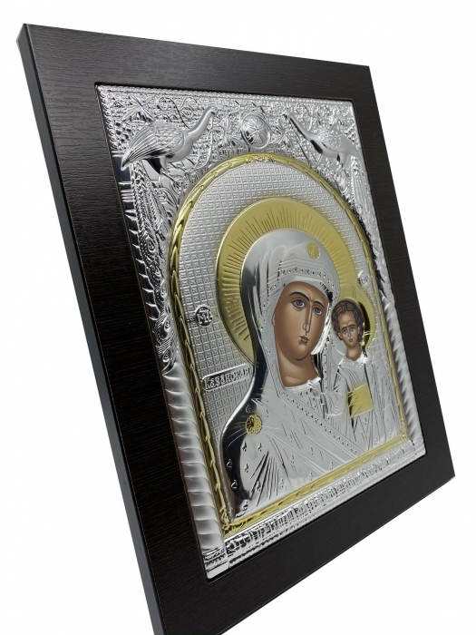 Icoana Maica Domnului si Pruncul Iisus Placata cu Argint si Aur-big