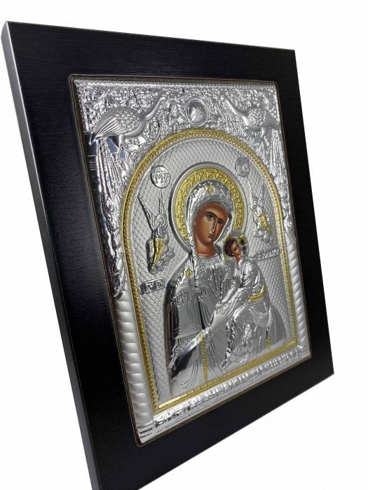 Icoana Maica Domnului si Pruncul Iisus placata cu Argint si Aur [2]