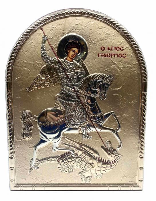 Icoana Sfantul Gheorghe placata cu aur si cu argint Valenti 0