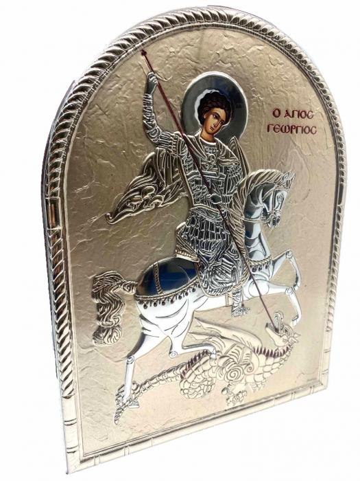 Icoana Sfantul Gheorghe placata cu aur si cu argint Valenti 2