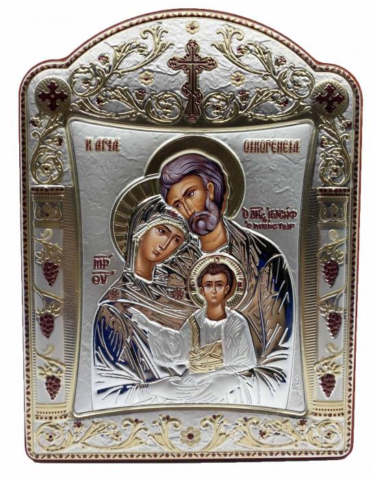 Icoana Sagrada Famiglia placata Aur si Argint by Chinelli - made in Italy 16 x 20 cm [0]