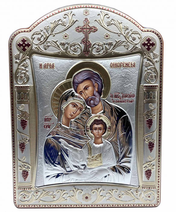 Icoana Sagrada Famiglia placata Aur si Argint by Chinelli - made in Italy 21 x 26 cm 0