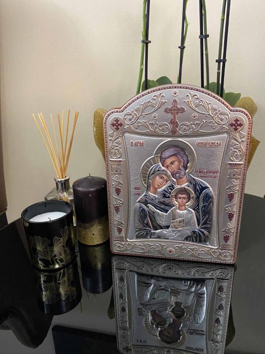 Icoana Sagrada Famiglia placata Aur si Argint by Chinelli - made in Italy 21 x 26 cm 4