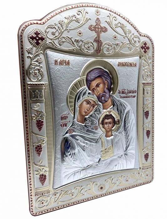 Icoana Sagrada Famiglia placata Aur si Argint by Chinelli - made in Italy 21 x 26 cm 1