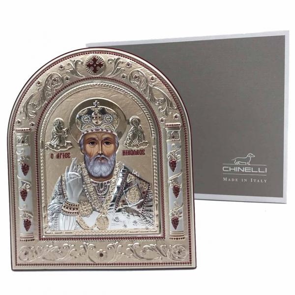 Icoana Sf. Nicolae placata cu aur si argint by Chinelli - Made in Italy 16 x 20 cm 3