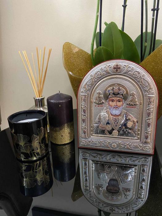 Icoana Sf. Nicolae placata cu aur si argint by Chinelli - Made in Italy 16 x 20 cm 2