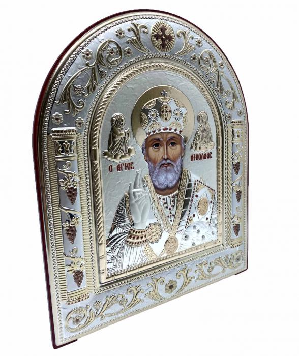 Icoana Sf. Nicolae placata cu aur si argint by Chinelli - Made in Italy 16 x 20 cm 1
