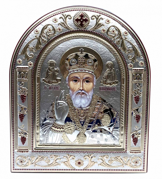 Icoana Sf. Nicolae placata cu aur si argint by Chinelli - Made in Italy 21 x 26 cm 0