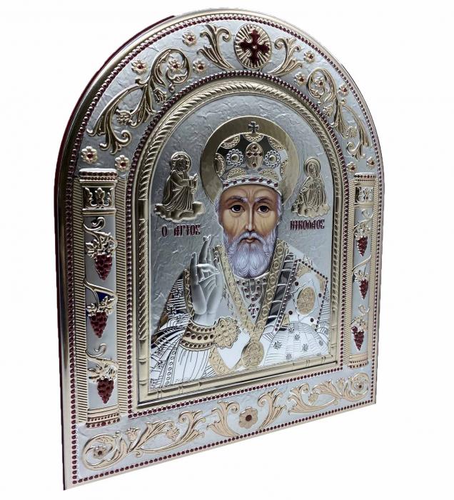 Icoana Sf. Nicolae placata cu aur si argint by Chinelli - Made in Italy 21 x 26 cm 1