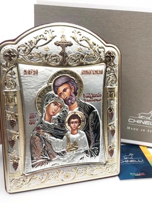 Icoana Sagrada Famiglia placata Aur si Argint by Chinelli - made in Italy 16 x 20 cm [2]