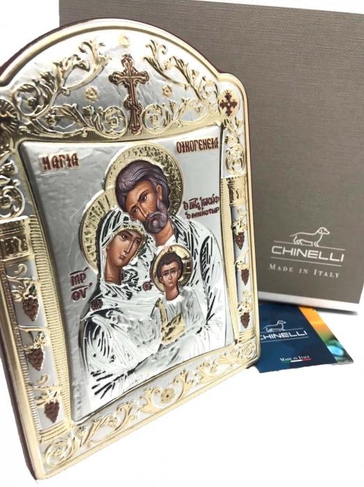 Icoana Sagrada Famiglia placata Aur si Argint by Chinelli - made in Italy 21 x 26 cm 3