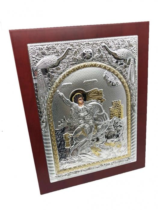 Icoana Sfantul Gheorghe placata cu Argint si Aur Galben 2